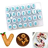 26PCS Upper&Lowercase Alphabet Cookie Cutter,Alphabet Letter Mold Baking Cupcake Mold,Fondant Cutter Mold Cake Biscuit Baking Mold,Cake Decorating Tools (Color: Lowercase letters)