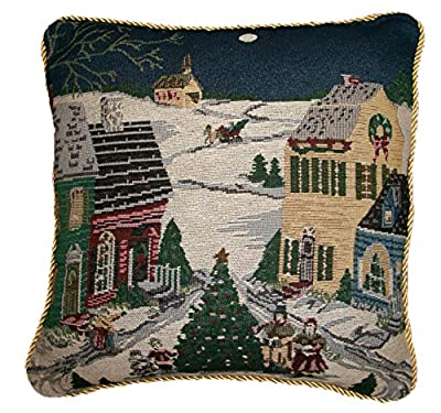 "Christmas Village Scene Tapestry Cushion Cover 16"" x 16"""