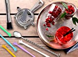 Bar Accessories Set By SILVERgrade, Professional Cocktail Muddler, Mixing Spoon, Strainer, 10 Drink Stirrers, Premium Bar Tools, Stainless Steel 304 18/8