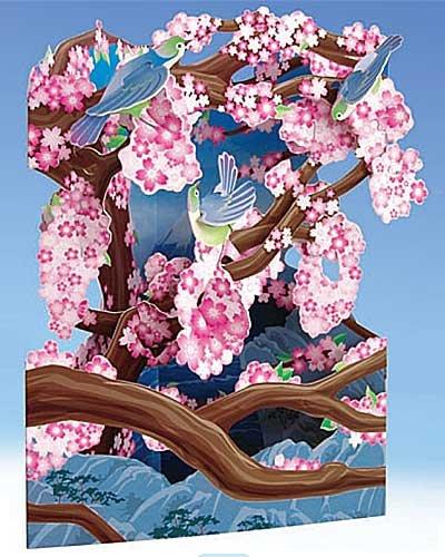 Santoro Interactive 3-D Swing Card,  Japanese Flowers Greeting Card