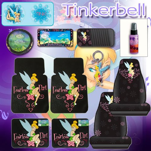 12 Pcs Tinkerbell Fearless Flirt Combo Front Rear Car Floor Mats, Seat Covers, Steering Wheel Covers, Large Sunshade, Cd Organizer, License Plate Frame, Key Chain And A Bonus 2Oz Purple Slice back-67362
