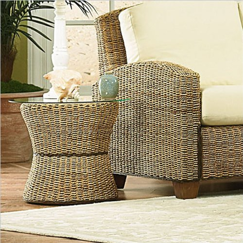 Home Styles Furniture Cabana Banana Round Drum Accent Table with Glass Top In Honey Finish