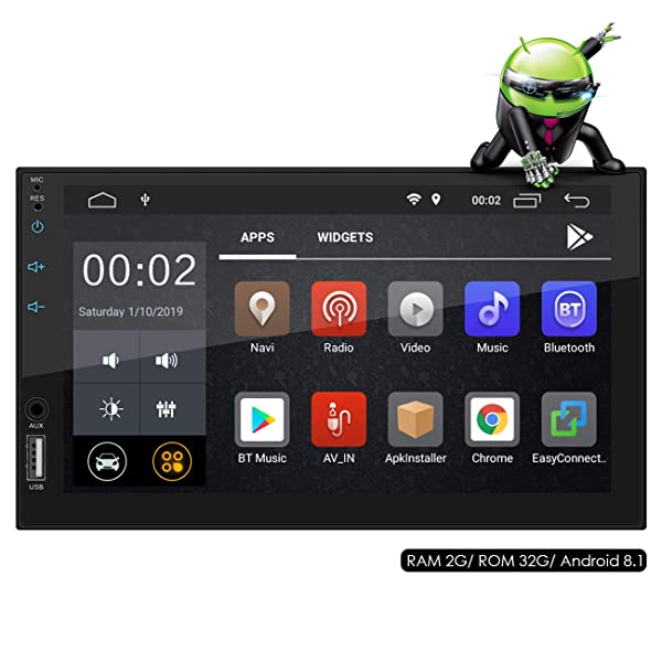Favoto Car Stereo Double Din Android GPS Navigation 1024x600P 7 Inch Capacitive Touch Screen in Dash Multimedia Car Radio Support WiFi Mirror Link Bluetooth Reverse Image with [Gift 16GB TF Card] (Color: Black)