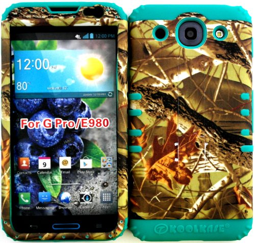 Lg Optimus G Pro E980 Exclusive Mossy Camo Hunter Series Hard Plastic Snap On + Teal Silicone Kickstand Cover Case. front-686550