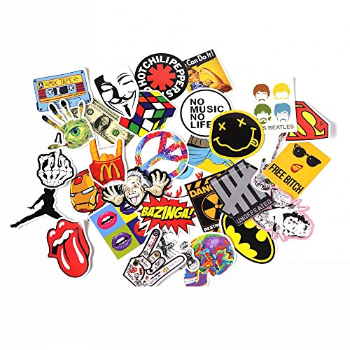 NAVAdeal Assorted 30 Pack Rock N Roll Music Band Vinyl Suitcase Skateboard Laptop Car Bumper Stickers (Bumper Bands compare prices)