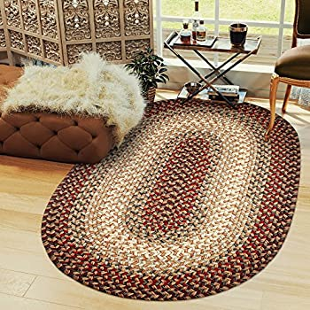 Super Area Rugs Hartford Braided Rug Indoor/Outdoor Kitchen Rug Runner Red Sunroom/Porch Carpet, 2 X 8 Oval Runner