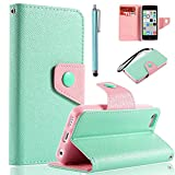 iPhone 5C Case, iPhone 5C Wallet Case, ULAK Fashion Contrast Colored Wristlet Wallet Stand Case for Apple iPhone 5C with Credit Card Holder Screen Protector and Stylus (Mint Green + Pink TPU)