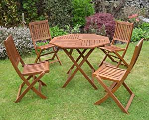 Canterbury Hardwood Garden Furniture 4 Seat Folding Patio Set Table & Four Chairs Ideal For Outdoor Living and Dining