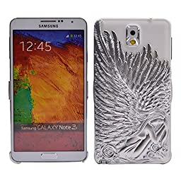 Galaxy Note 3 Case, Turf Angel Wings Stylish Deluxe Bling Sparkly Electroplate Embossment 3D Protective Cover for Samsung Galaxy Note 3 Silver