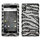 Asmyna MOTA955HPCDM010NP Luxurious Dazzling Diamante Case for Motorola Droid 2/R2D2 A955 - 1 Pack - Retail Packaging - Black Zebra