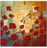 Wieco Art - Dragonfly - Modern Flower Artwork 100% Hand-painted Floral Oil Paintings on Canvas Wall Art, Stretched and Framed Art work 24 by 24 inch