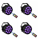 UV Black Lights with Remote 12x3W LED Par Lighting for Stage KTV Pub Club Dsico Show Party (4pcs)