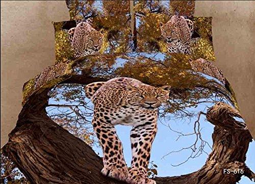 Queen Size 100% Cotton 4-Pieces 3D Leopard On Tree Animal Prints Duvet Cover Set/Bed Linens/Bed Sheet Sets/Bedclothes/Bedding Sets/Bed Sets/Bed Covers/5-Pieces Comforter Sets (5) front-992135