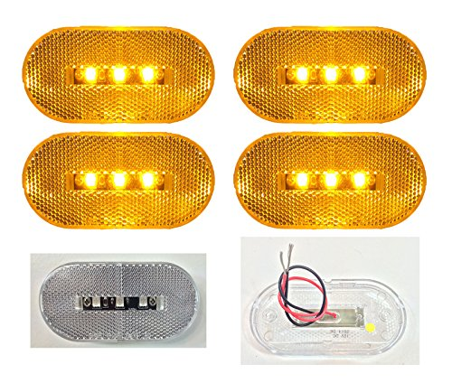 """4 New 4""""X2"""" Oblong Clear Amber Led Surface Mount Clearance Marker Lights El-114303Ca"""