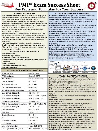PMPCheat+Sheet PMP Exam Success Sheet (Cheat Sheet based on PMBOK 4th ...
