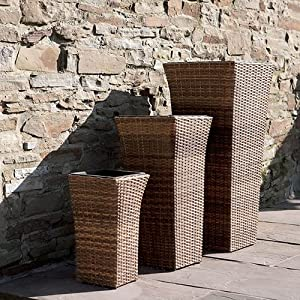 Trueshopping AMIRA Garden Patio Planters Set of 3 Tall ...