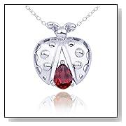 Garnet Ladybug Pendant Necklace