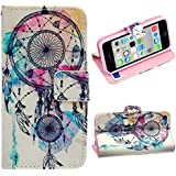 Malloom® Brand New Cute Stand Flip Leather Cover Case For iPhone 5C (Dreamcatcher Campanula)
