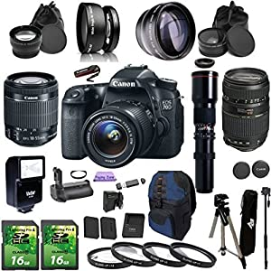 Canon EOS 70D DSLR Camera Digideals Video Microphone Bundle with Lens, Stand and Accessories (14 Items)