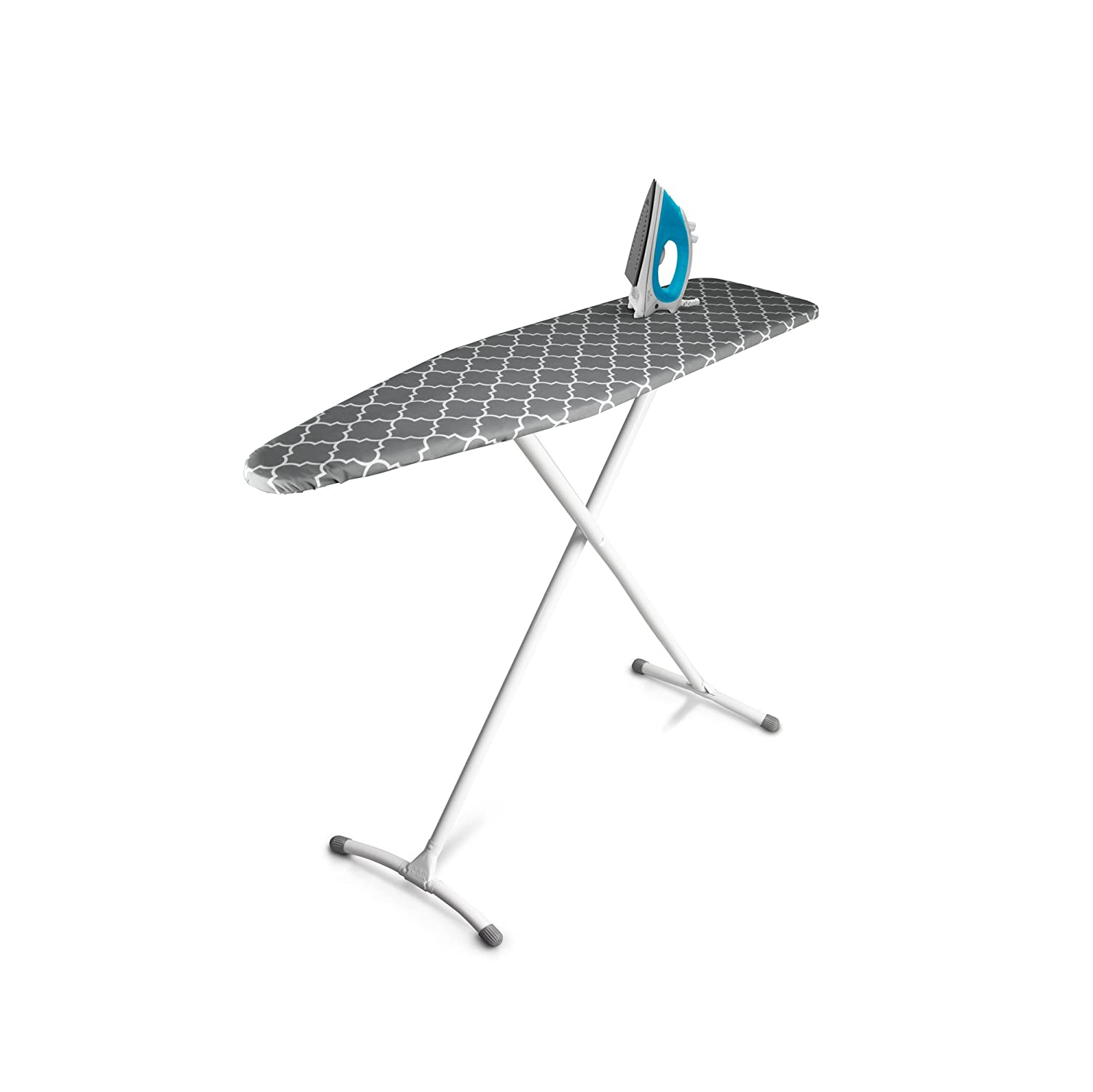 "Homz Contour Ironing Board, Extra Stable Legs, 54"" x 14"" Adjusts to 35"" Tall, Gray Lattice"