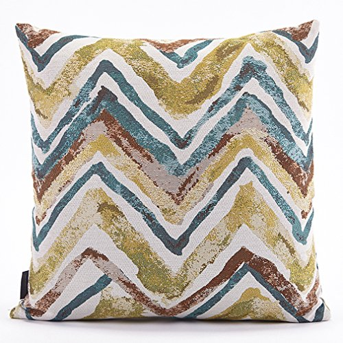 Puredown Jacquard Throw pillow cases Sofa Pillow Covers Wave Doodle Pattern 18X18 Inch Multicolor