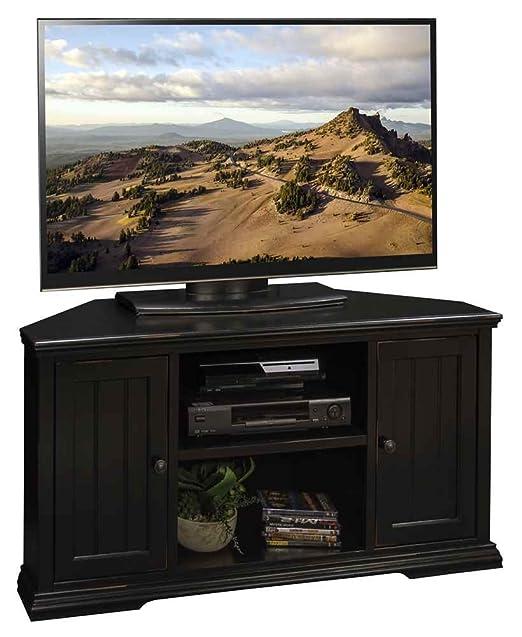 49.75 in. Corner TV Cabinet in Rustic Black Finish