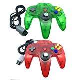 Pomilan 2 Packs Classic Retro Wired Controllers For Nintendo 64 (Clear Red and Clear Green)