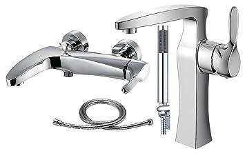 Bad Zimmer Dusche und hoch Waschtisch Wanne Duschkopf Schlauch ...