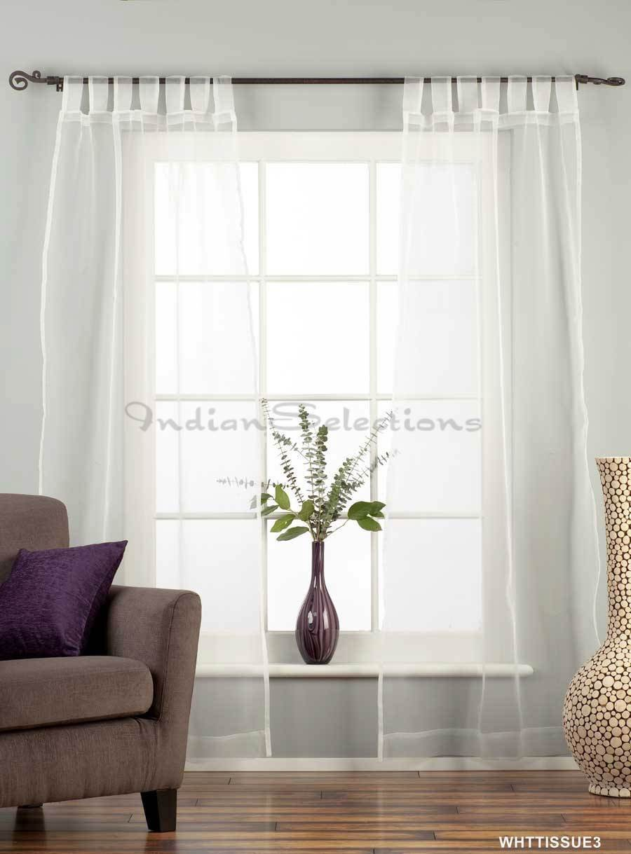Amazon.com - White with Gold Tab Top Sheer Sari Curtain / Drape ...