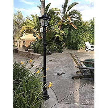 TruePower Cast Aluminum Solar Powered COB LED Streetlight Style Outdoor Light Lamp Post, Black