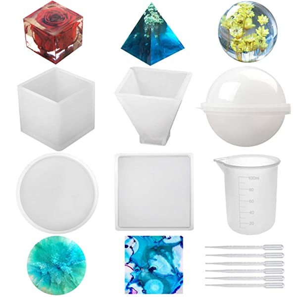 Candle Wax Square Silicone Resin Molds 5Pcs Resin Casting Molds Including Sphere Soap Round with 1 Measuring Cup /& 5 Plastic Transfer Pipettes for Resin Epoxy Pyramid Cube Bowl Mat etc