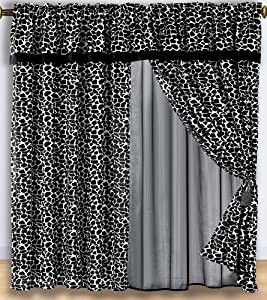 2 Panel White Black Giraffe Micro Fur Window Curtain / Drape Set with Attach Valance & Tassels