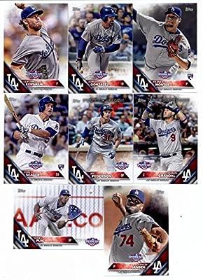 2016 Topps Opening Day Los Angeles Dodgers Team Set of 8 Cards: Kenley Jansen(#OD-5), Corey Seager(#OD-48), Joc Pederson(#OD-53), Yasmani Grandal(#OD-87), Clayton Kershaw(#OD-100), Yasiel Puig(#OD-119), Adrian Gonzalez(#OD-135), Frankie Montas(#OD-162) in