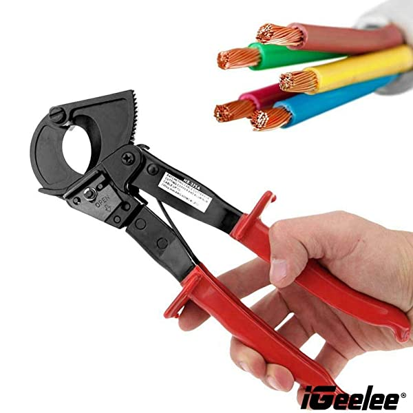 iGeelee Self Adjusting Ratchet Cable Cutter up to 500MCM Aluminum Copper Wire Cut HS-325A Wire Cutting Ratcheting Hand tool (HS-325A)