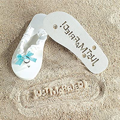 """Just Married"" Girl Lady Flip Flops Stamp Your Message in the Sand! (7/8)"