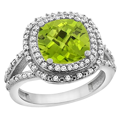 Revoni 14ct White Gold Natural Peridot Ring Cushion 8x8 mm with Diamond Accents