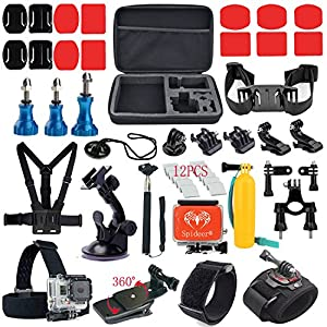Spideer® GoPro Hero Accessories Kit for Gopro Hero 4 3+ 3 2 1 Black Sliver Camera for Swimming Rowing Skiing Climbing Bike Riding Camping Diving Surf Parachute Accessories Outing Any Other Outdoor Sports Large Shockproof Carry Case + Chest Strap + Helmet Strap + Head Strap + Monopod Handhold Mount + Handlebar Seatpost Mount + Anti-fog Inserts + Buckle Basic Strap Mount + J-hook Buckle Mount + Long Screw Bolt + Floating Handle Grip + 360 Rotary Clip Mount + Bike Tripod Mount + Wrist Strap Mount for Gopro + 3 Blue Aluminum Stainless Screw Bolt + Remote Control Velcro Wrist Strap + Gopro Suction Cup Mount + Spideer® Floaty Backdoor