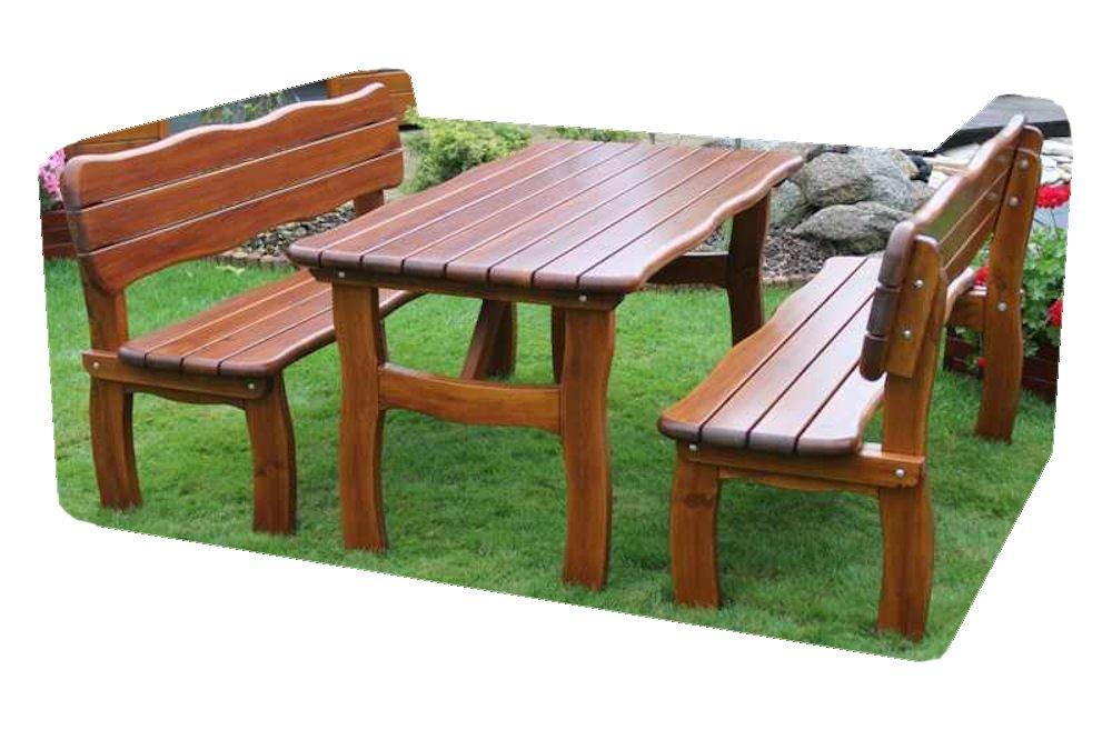 "Massivholz Garten Sitzgruppe ""Lorit-1"" , Kiefer , unlackiert , Holzdicke 42 mm ! Set : 2 Gartenbänke , Massivholztisch kaufen"