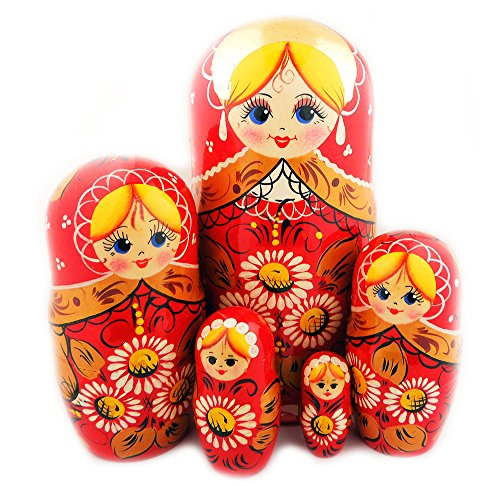Floral Lmatryoshka Hand Painted Wood 5 Piece Russian Nesting Doll 6 1/2 Inch