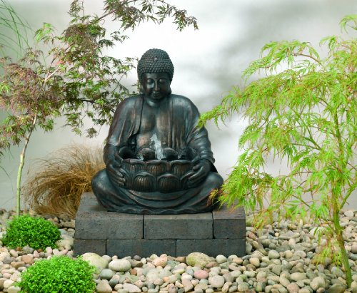 Smart Solar 29960M01 Buddha Fountain Polyresin Solar-On-Demand - Black Bronze