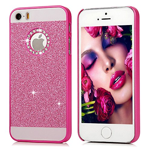 iPhone SE Case, iPhone 5/5S Case - MOLLYCOOCLE Bling Sparkle Glitter PU Leather Scratch Resistant Shockproof Protection PC Shell Hard Hybrid Ultra Slim Fit Cover for iPhone SE/5/5S -Hot Pink (Hot Pink Iphone 5 Case compare prices)