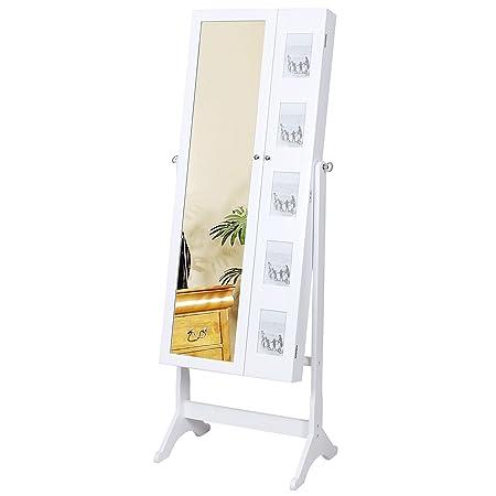 Songmics gabinete joyería Armario de pie con espejo para joyas blanco JBC27W