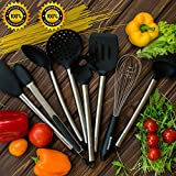 Cooking Utensils - Premium 8 Piece Kitchen Utensil Set - Tongs, Serving Spoon, Turner and Flex Spatula Tools, Pasta Server, Ladle, Strainer, Whisk - Silicone and Stainless Steel Made
