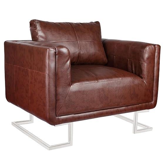 vidaXL Sedia cubo di lusso in cuoio marrone con piedi di cromo in legno durevole