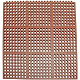 "Rubber-Cal ""Dura-Chef Interlock"" Anti-Fatigue Matting - 5/8-inch x 3ft x 3ft - Red Rubber Floor Mat"