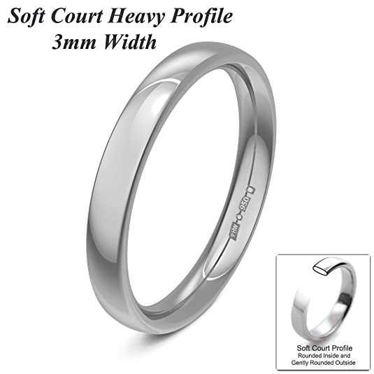 Xzara Jewellery - Platinum 3mm Heavy Court Profile Hallmarked Ladies/Gents 4.1 Grams Wedding Ring Band