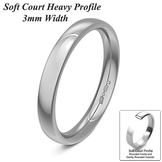 Xzara Jewellery - Platinum 3mm Heavy Court Profile Hallmarked Ladies/Gents 4.1 Grams Wedding Ring Band