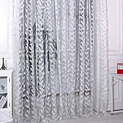 Fenta Romantic Sheer Leaves Printed Door Window Curtain Tulle Scarf Drape Voile Valances