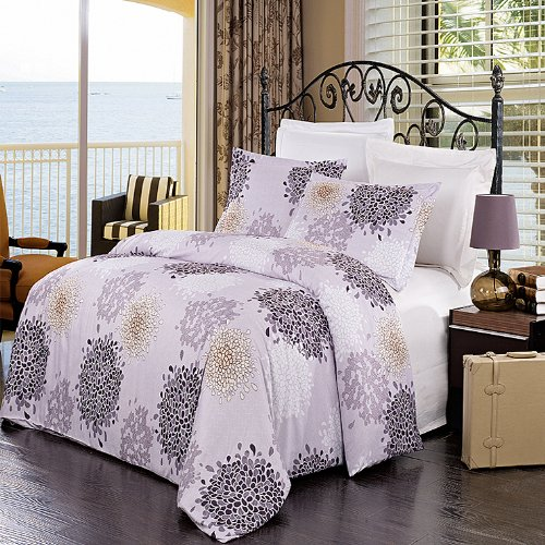 Full/Queen 3Pc Fifi Embroidered Microfiber Duvet Cover Set. Incudes: One Duvet Cover And Two Pillow Shams, 100% Brushed Microfiber.