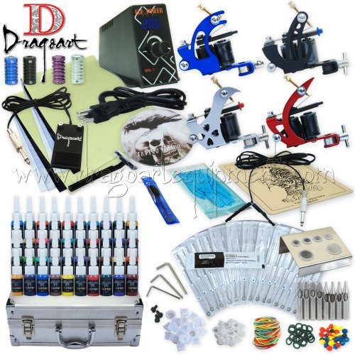 Dragoart Complete Tattoo Kit 4 Machine Set Equipment Power Supply 40 Color Inks Tka-7-4